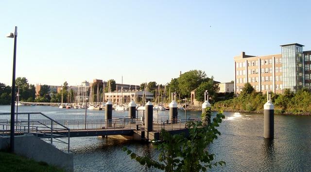 Pier boat river, architecture buildings.