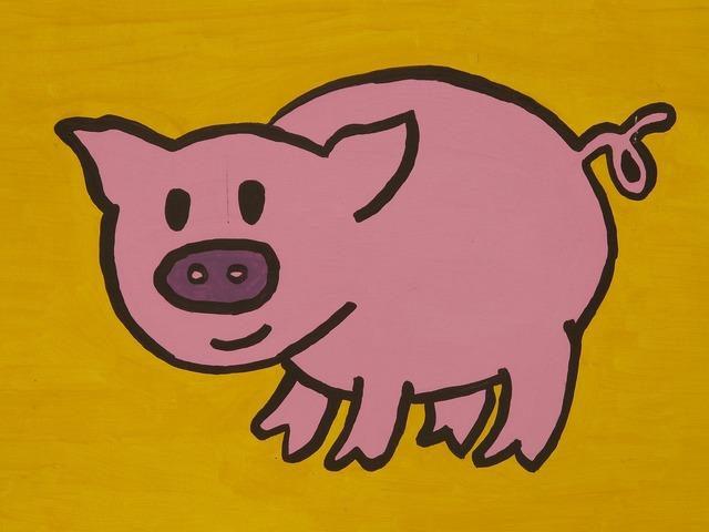 Pig cartoon character drawing, animals.