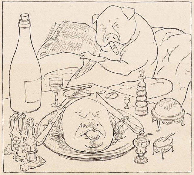 Pig drawing public domain.