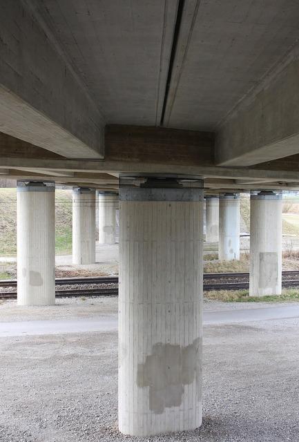 Pillar bridge road construction, architecture buildings.