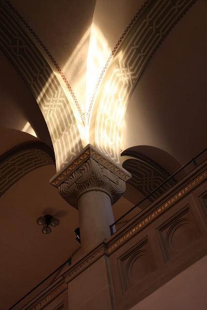 Pillar construction art synagogue, religion.