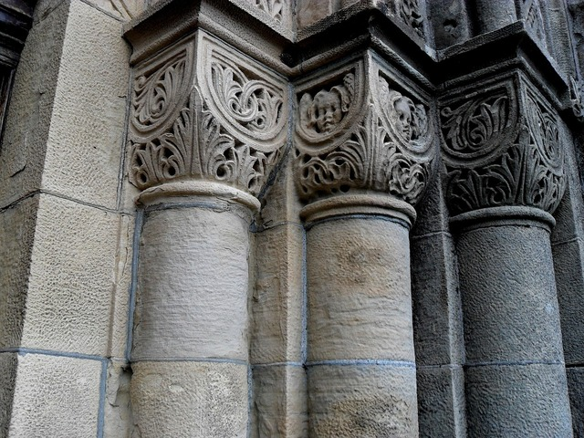 Pillars church old, religion.