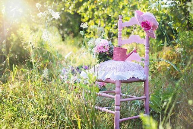 Pink chair summer nature, nature landscapes.