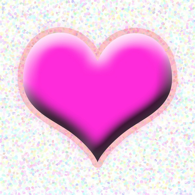 Pink love heart, emotions.