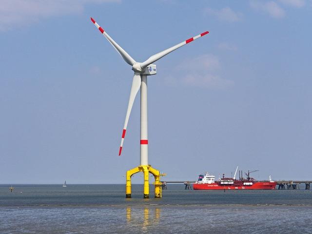 Pinwheel offshore wadden sea, nature landscapes.
