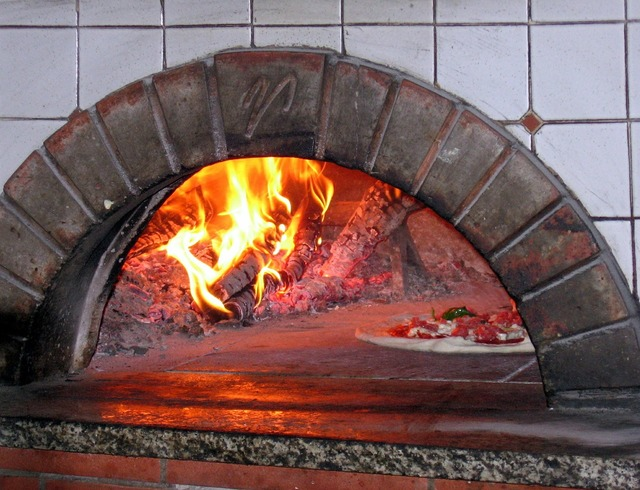 Pizza oven wood fired burning, food drink.