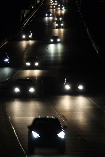 Pkw night light, transportation traffic.