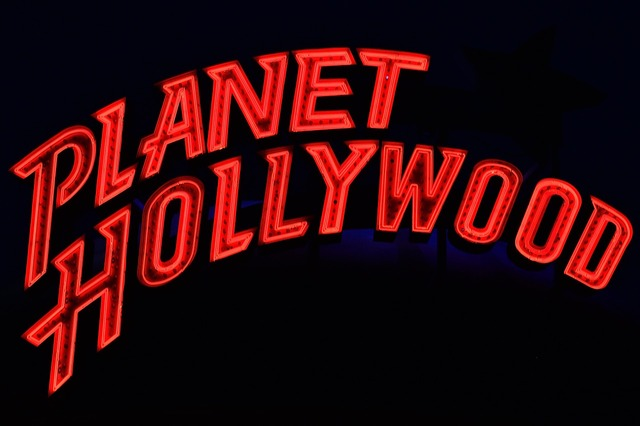 Planet hollywood neon advertising.