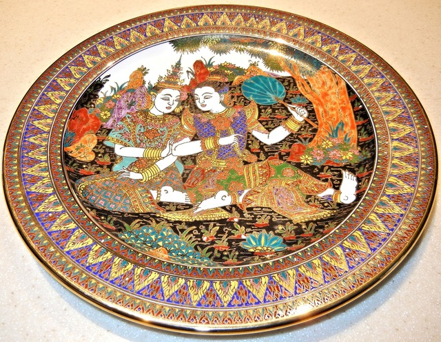 Plate hand painted thailand.