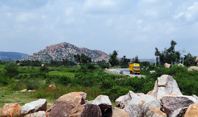 Plateau rocks hillocks, transportation traffic.