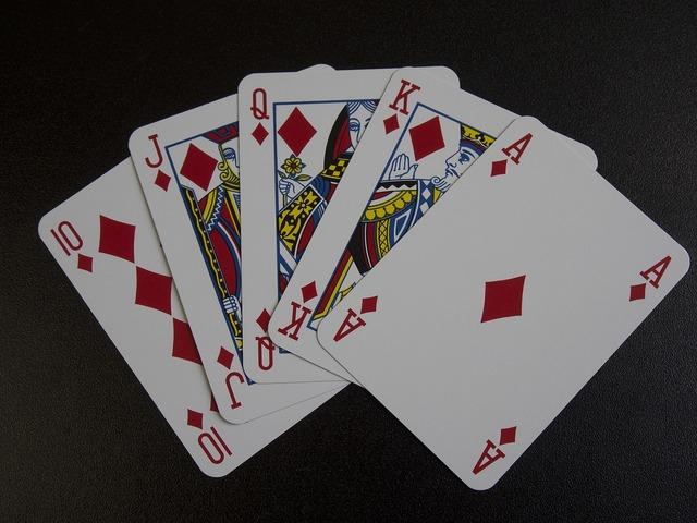 Playing cards royal flush poker, transportation traffic.
