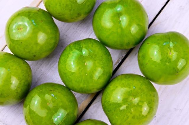 Plum fruit green, food drink.
