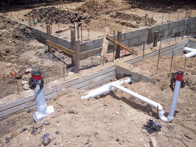 Plumbing cement foundation, architecture buildings.