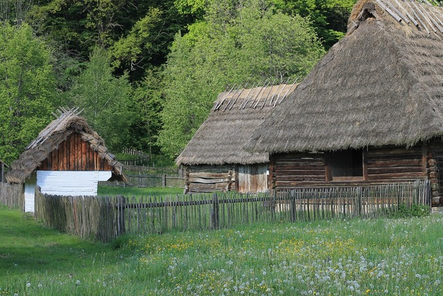 Poland open air museum village, architecture buildings.