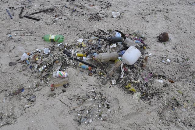 Pollution trash beach, travel vacation.