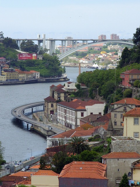 Porto portugal bridge, transportation traffic.