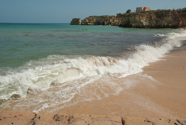Portugal beach waves, travel vacation.