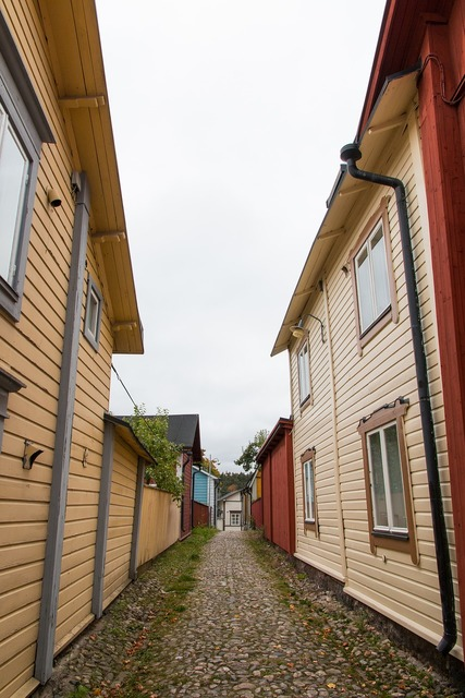Porvoo alley street, transportation traffic.