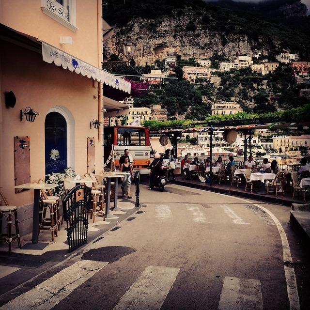 Positano italy road, transportation traffic.