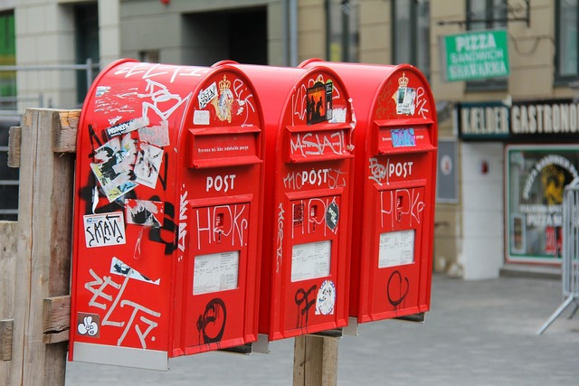 Post box letter boxes red.