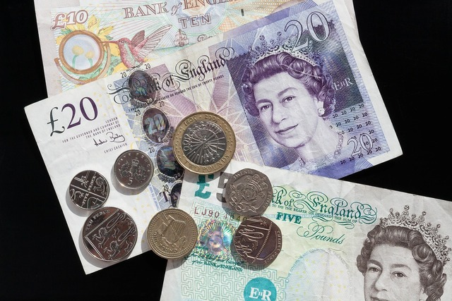 Pound coins currency, business finance.