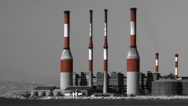 Power plant chimney electricity, science technology.