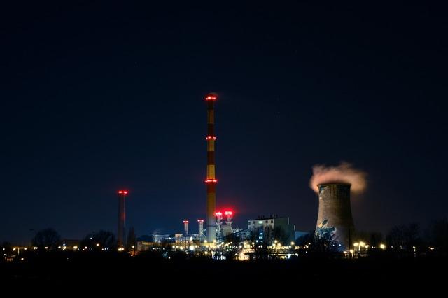 Power plant night illumnated, industry craft.