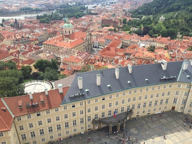 Prague city view high.