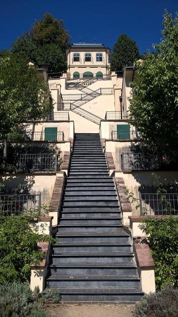 Prague stairs garden, architecture buildings.