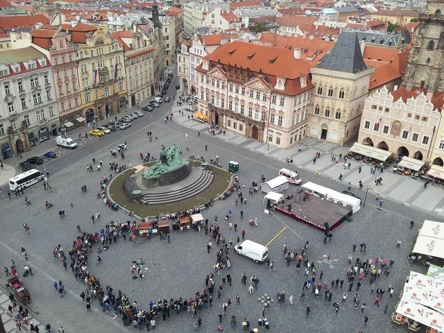 Prague town square city, architecture buildings.