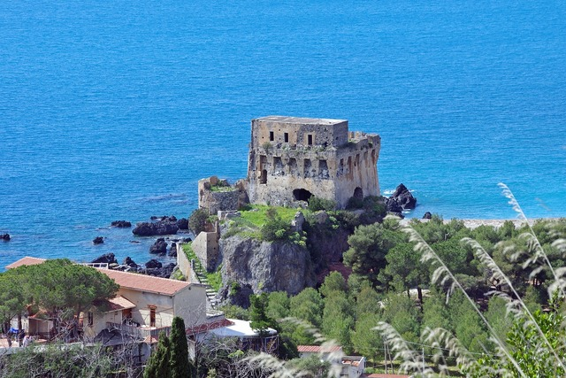 Praia a mare calabria watchtower, nature landscapes.