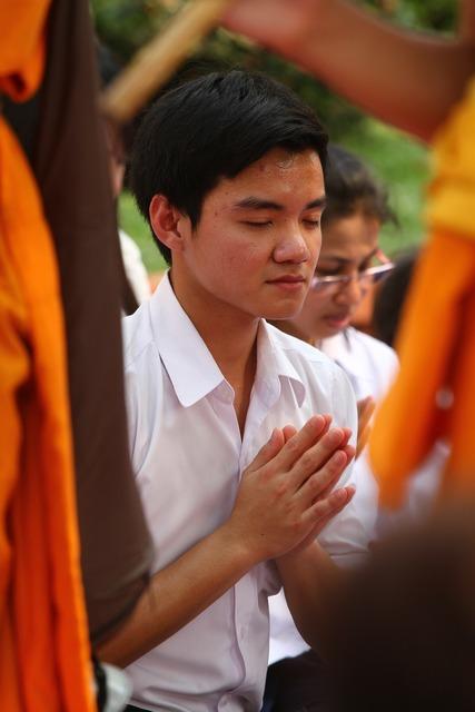 Pray buddhists rose petals, religion.