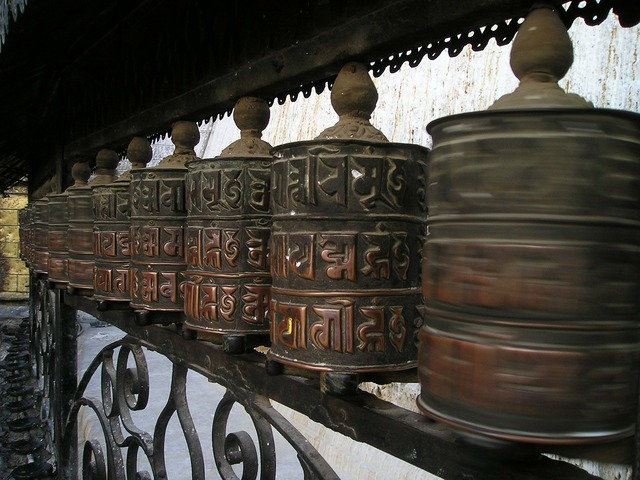 Prayer wheels buddhism nepal, religion.