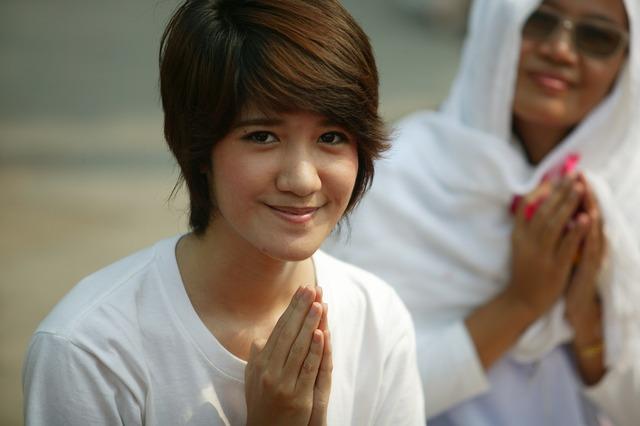 Praying buddhists buddhism, religion.