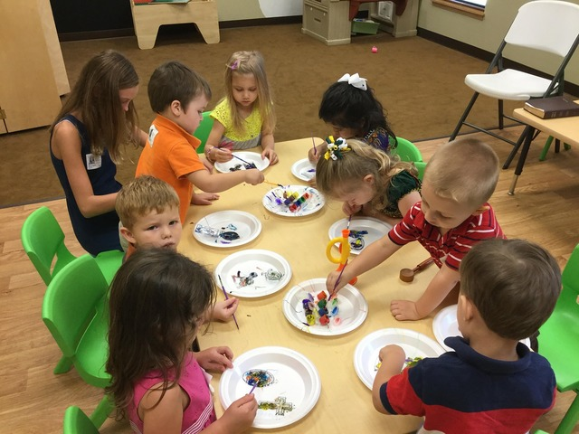Preschoolers arts and crafts kids learning.