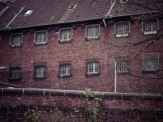 Prison caught grid, architecture buildings.