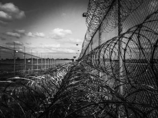 Prison fence razor ribbon wire.