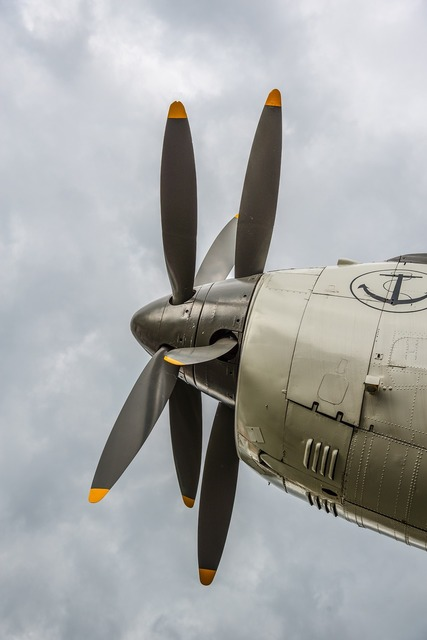Propeller aircraft detail, science technology.
