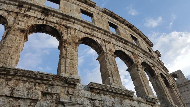 Pula antiquity amphitheater, architecture buildings.