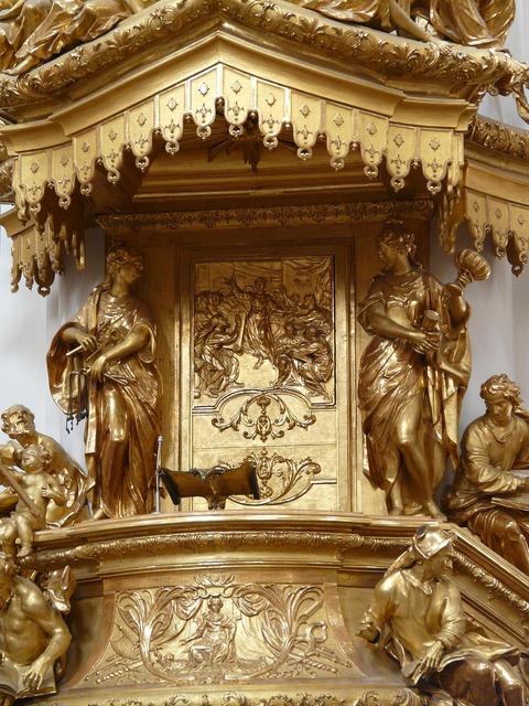Pulpit golden gilded, religion.