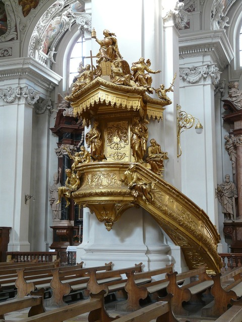 Pulpit golden gilded, religion.