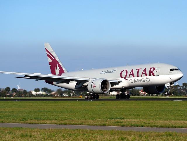 Qatar airways cargo boeing 777, transportation traffic.