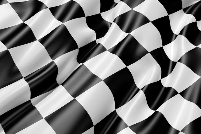 Race track flag flag black and white, sports.