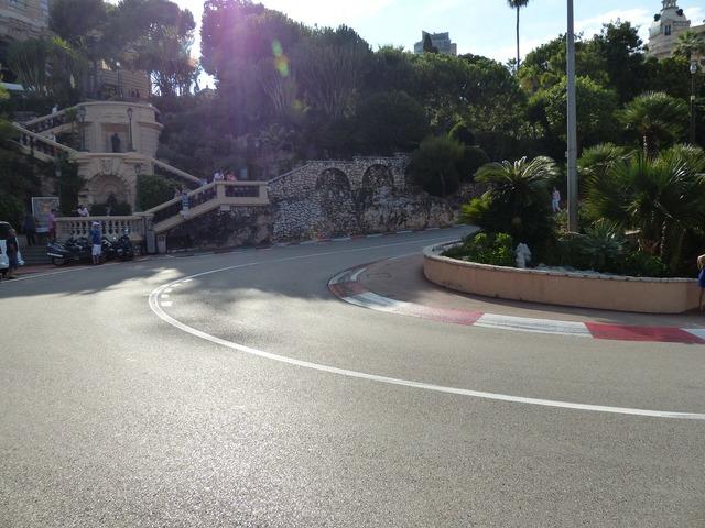Race track road curve, transportation traffic.