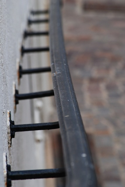 Rail bar steel, architecture buildings.