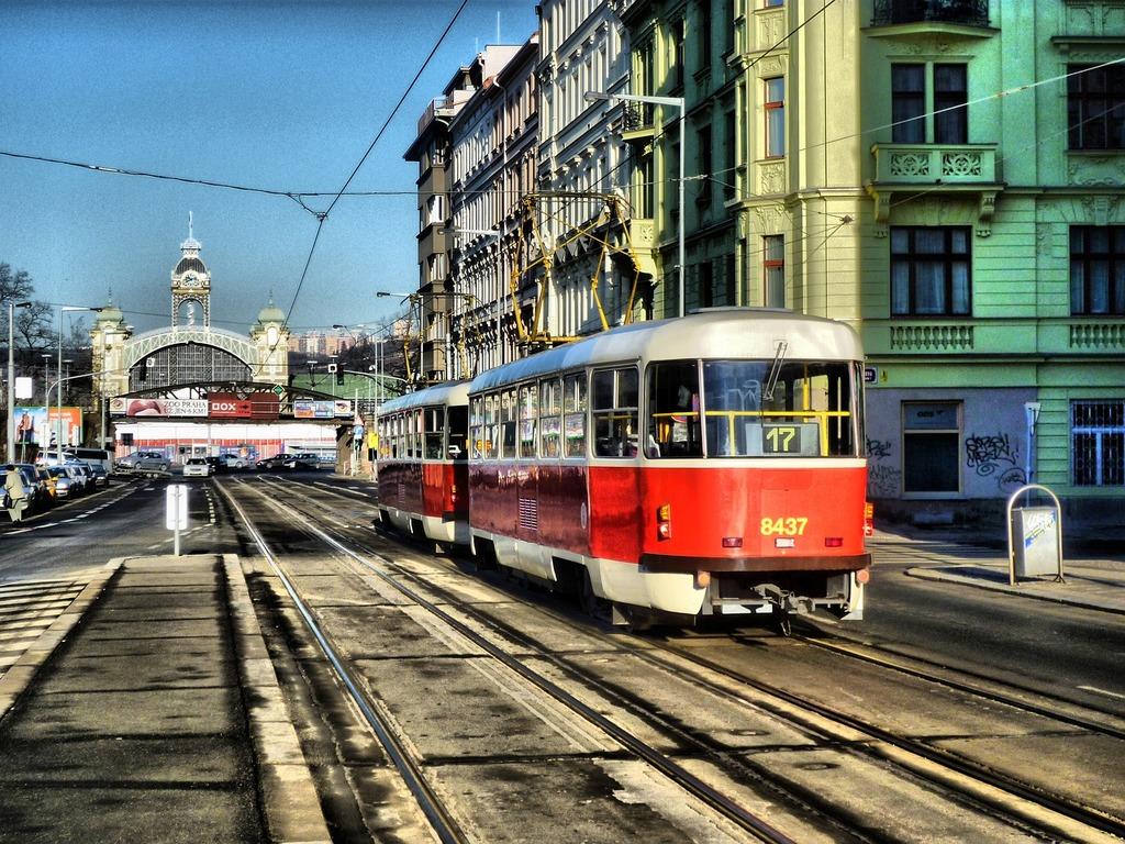 Rail prague electro train, transportation traffic.