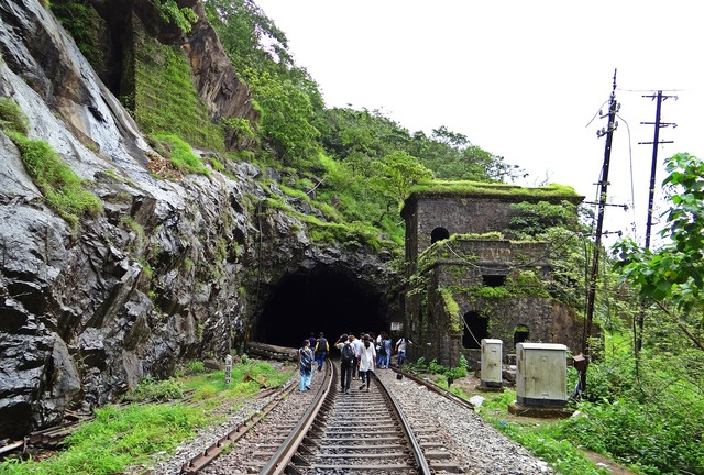 Rail track railroad tunnel, nature landscapes.