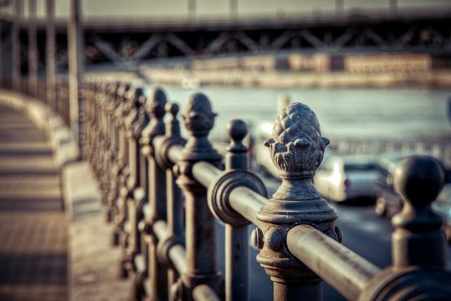 Railing iron bridge, transportation traffic.