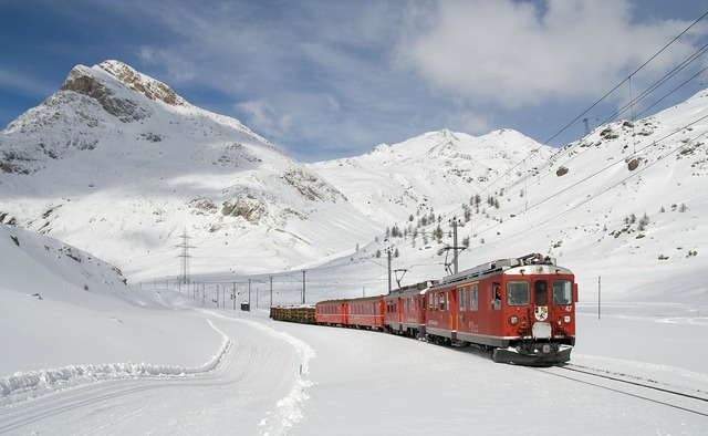 Railway bernina railway lagalb, transportation traffic.