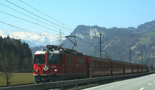 Railway seemed train, transportation traffic.